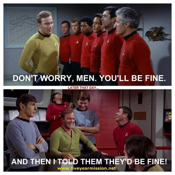 This Is Too Funny! Red Shirts Always Die! Except Scottie