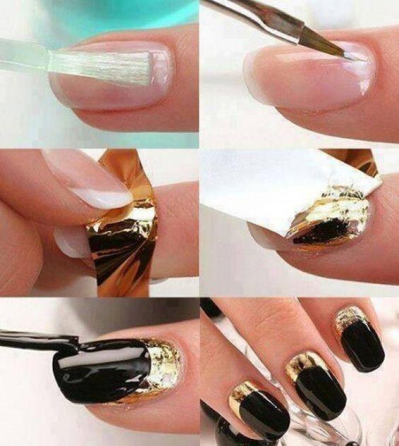 mooie+combi+van+goud+en+zwart,+transparente+basis,+nagellijm+voor+het+goudvelletje+en+dan+aflakken+met+zwart+en+een+gouden+randje+bovenaan+vrijlaten