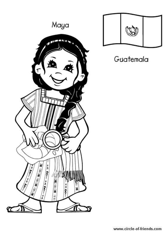 guatemala coloring pages - coloring page enfant guatemala para kids