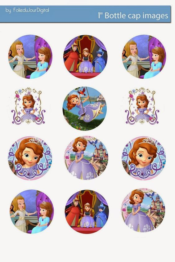 "Free Bottle Cap Images: Sofia the First 1"" free digital bottle cap images"