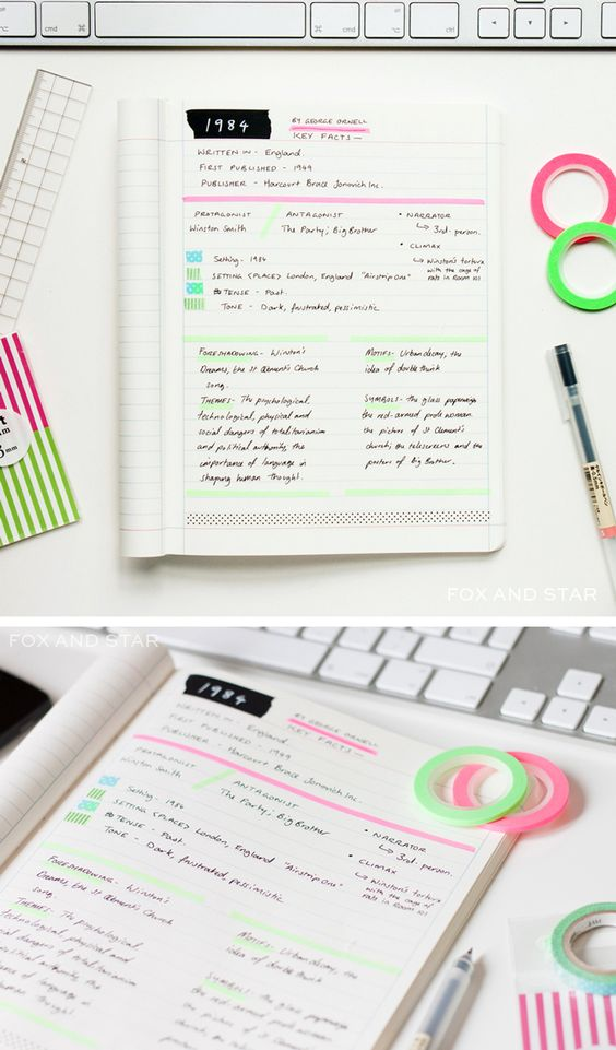 brighten up your note-taking sessions with #washitape: