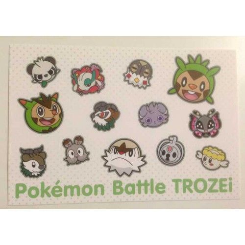 Pokemon Center 2014 Battle Trozei Chespin Quilladin Chesnaught & Friends Authentic Postcard Lottery Prize NOT SOLD IN STORES