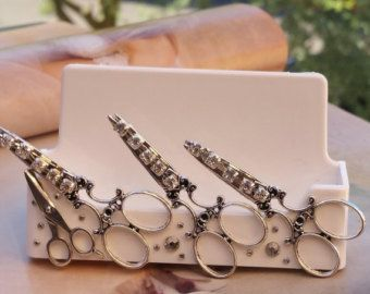 Vintage Hair/Business Card Holder/Scissors And by TheBohemianGypsy