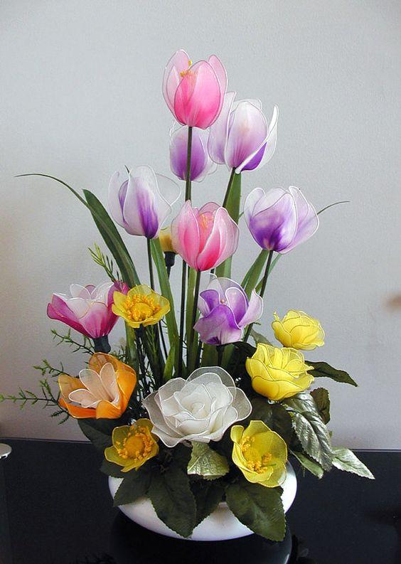 Handmade Nylon Flower Arrangement by LiYunFlora on Etsy