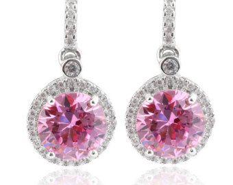 8MM Rose Pink Halo Diamond CZ Drop Earrings Solid 925 Sterling Silver October Birthstone Bridal Earrings