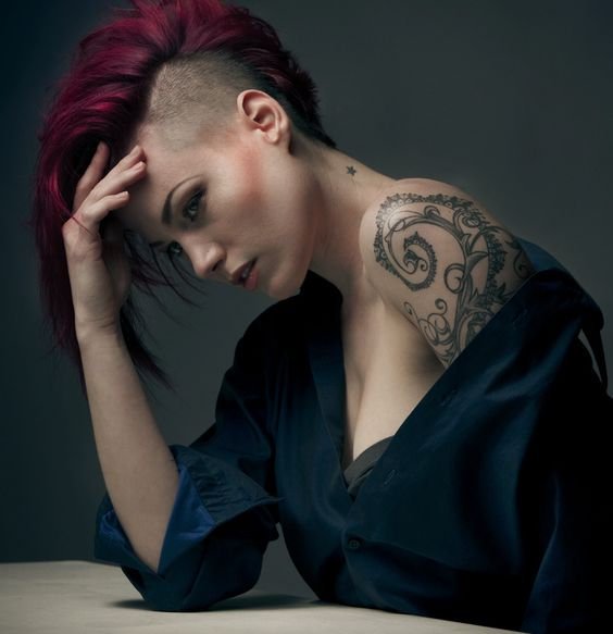 Tattooed Girl with Short Hair