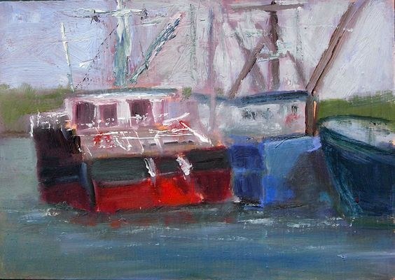 Painted in Plein Air (outdoors) at Fisherman's Wharf in Seattle.