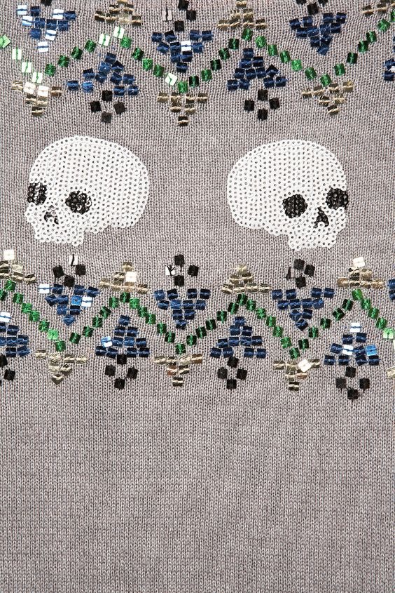 Grey Skull Fairisle Pattern
