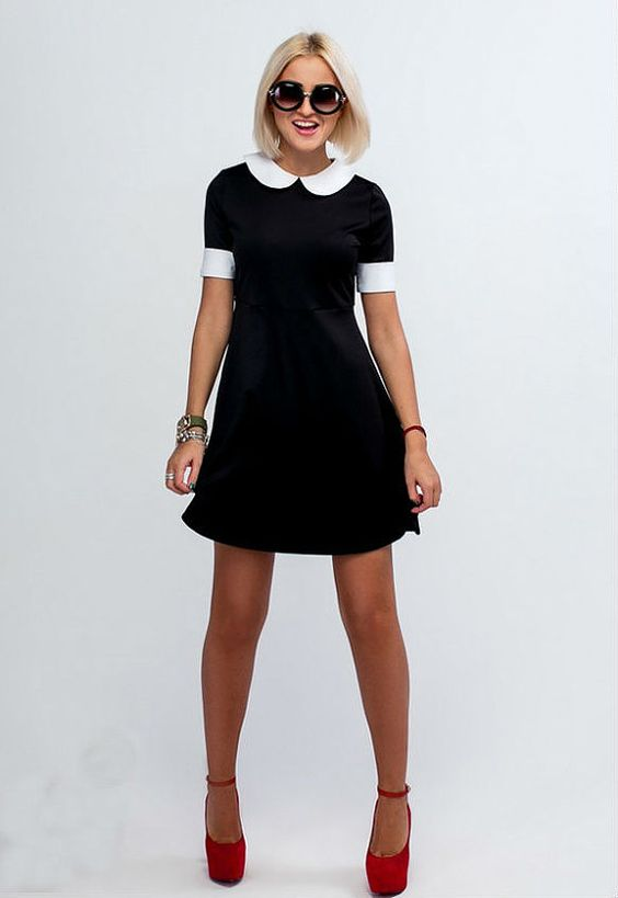 Little Black Dress / LBD / Short Sleeve Dress/ Black and White ...