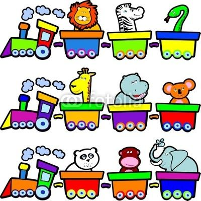 Funny trains with wild animals :)  #vector #stockimage