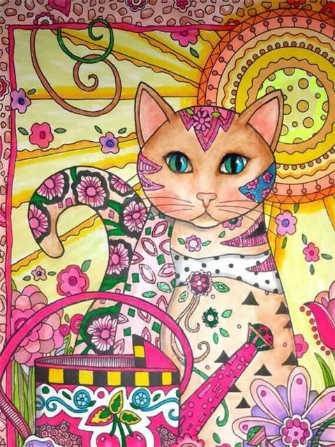 Arty The Cat In The Garden Diamond Painting Cat Coloring Book Cat Art Cat Coloring Page