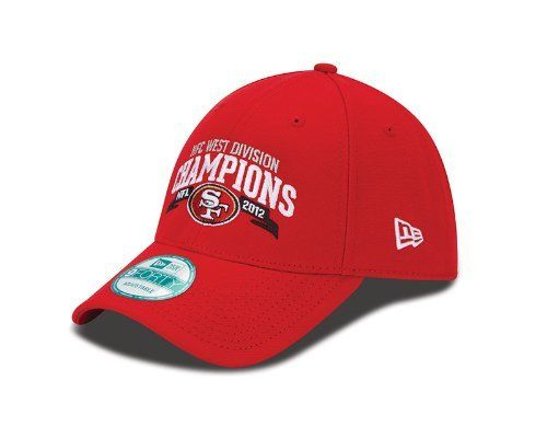 NFL San Francisco 49ers 2012 NFC West Division Champs 940 Adjustable Cap, Red, One Size Fits All by New Era. $19.99. 2012 NFL Division Champs Logos. Polyester 100%. 9Forty Adjustable Cap. Officially Licensed. Successful seasons don't come along every year in the NFL, so celebrate this one in the New Era 2012 Division Champions hat. It is embroidered with both NFL team and division championship graphics.