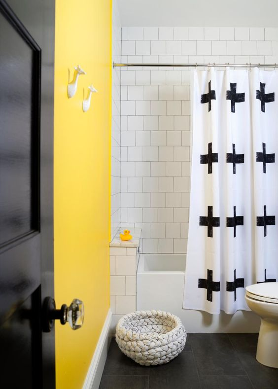 Family bathroom yellow bathrooms and yellow on pinterest for Bright yellow bathroom ideas
