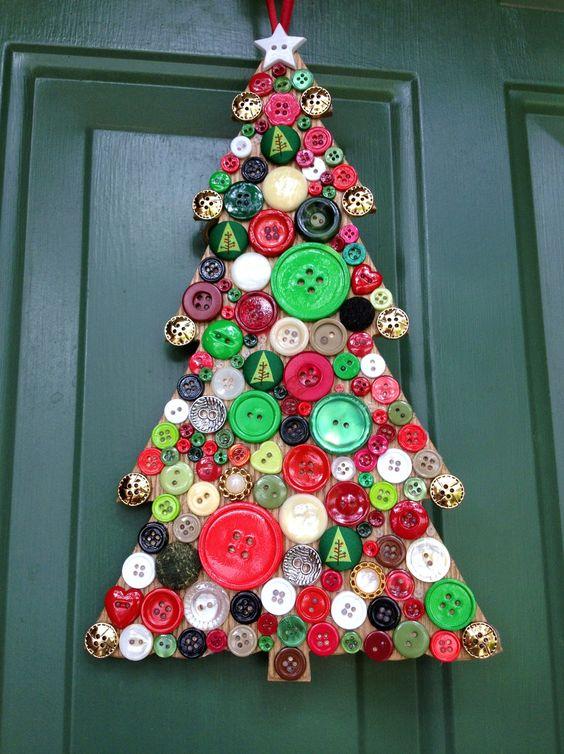 Christmas Decoration - Holiday Wreath - Button Adorned Christmas Tree - Button Art Wreath Alternative. $ 44.95, via Etsy.