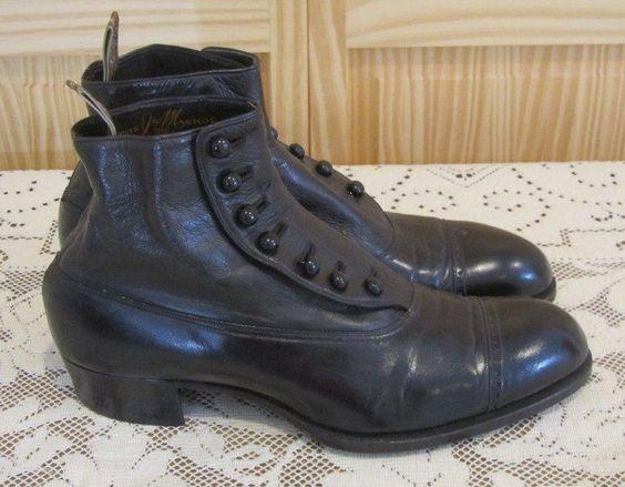 Antique High Top Button Gentlemen's Shoes Black Leather J & M Snyder & Kidd NICE #JMSnyderKiddDesirableShoesWashingtonDC #DressFormal