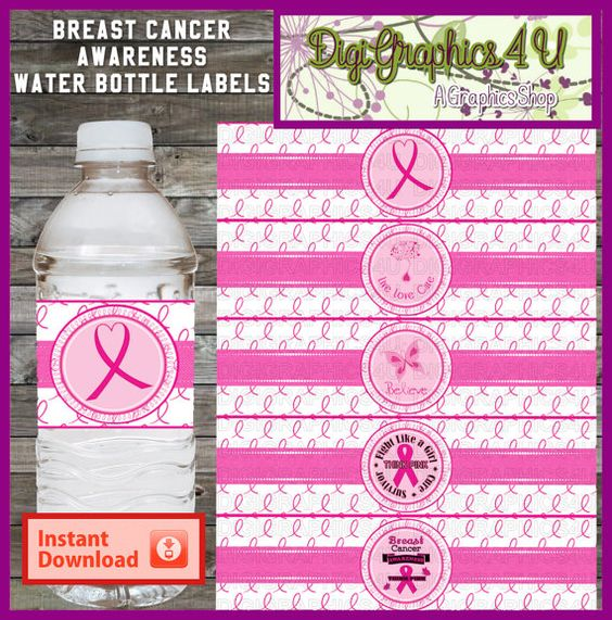 Printable Breast Cancer Awareness Water Bottle by DigiGraphics4u