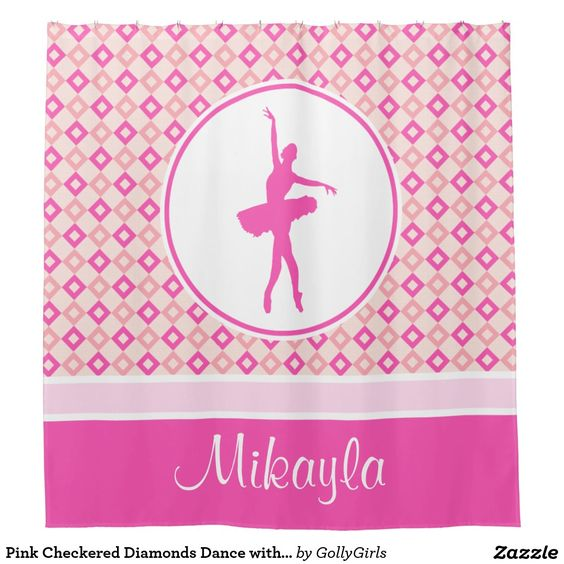 Shower curtain for dancers with a pink checkered diamonds design. A two-tone diamond pattern in the background with a pink dance graphic on top. It includes a custom text field for your name! It's perfect for any dancer.