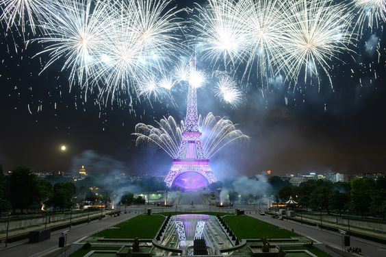 Fireworks explode around the Eiffel Tower during the annual Bastille Day celebrations on July 14, 2014 in Paris, France. The French National Day, commemorates the beginning of the French Revolution with the storming of the Bastille fortress and prison on July 14, 1789. (Frederic T Stevens/Getty Images)