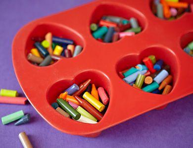 melt down old crayons into cupcake tin