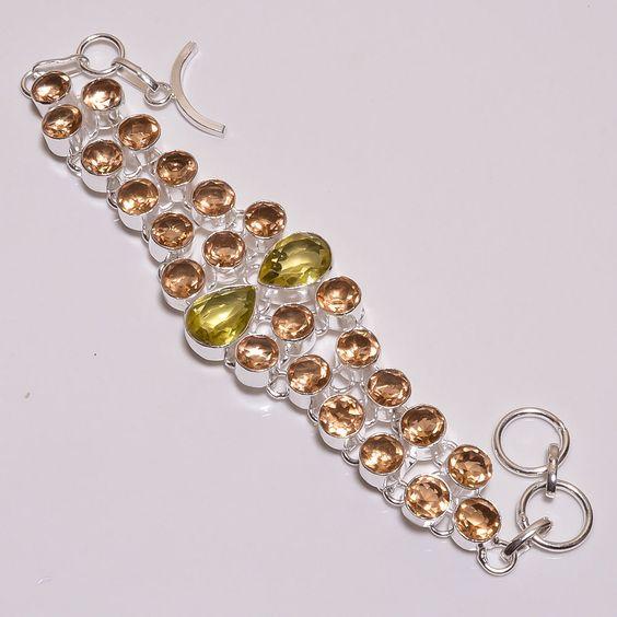 Lovely Faceted Citrine Quartz .925 Silver Handmade Bracelat Jewelry JB649…