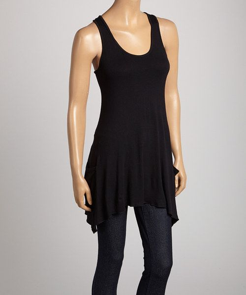Take a look at the Black Racerback Sidetail Tank on #zulily today!