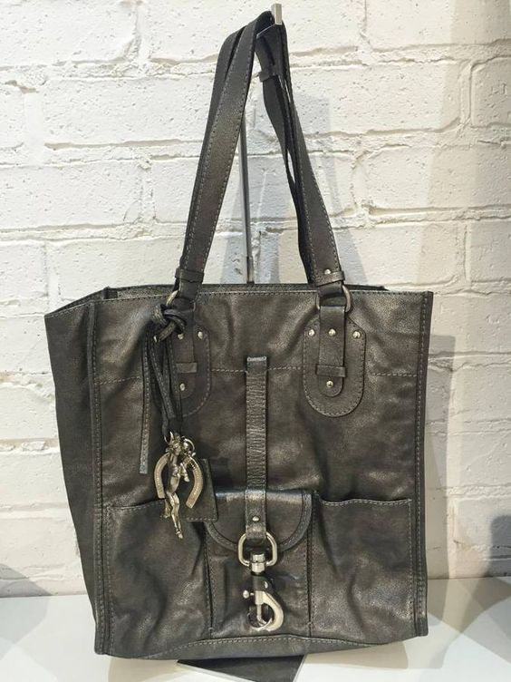 Chloe Kerala Grey Metallic Leather Tote Bag