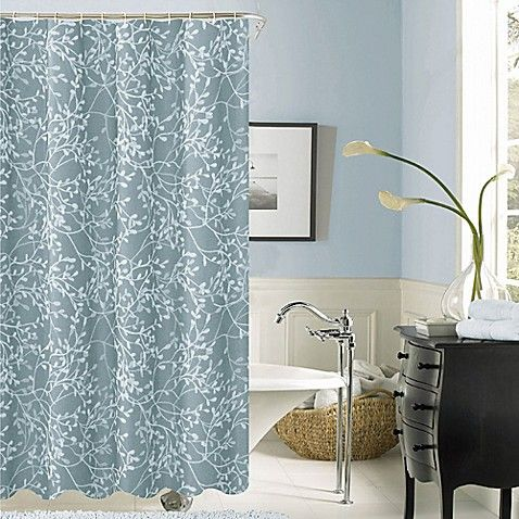Dainty Home Willow Shower Curtain In Blue Fabric Shower Curtains