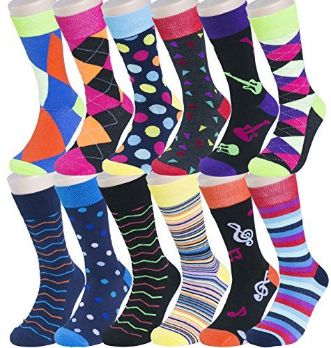 Mens Pattern Dress Funky Fun Colorful Socks 12 Assorted Patterns Size 10-13