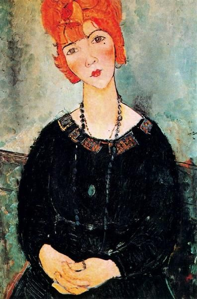 Woman With a Necklace, 1917 by Amedeo Modigliani. Expressionism. portrait. Art Institute of Chicago, Chicago, IL, USA: