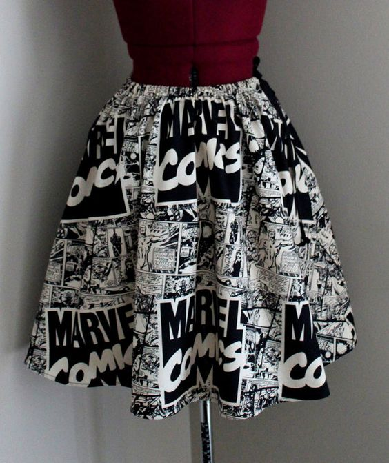 Marvel Comics Womens Skirts Comic Book Skirts Vintage by tintiara, $52.00