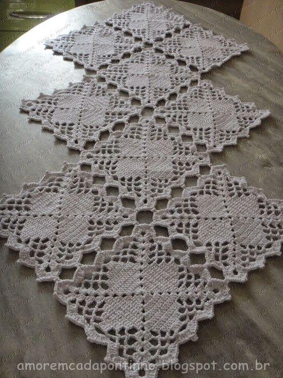Caminho de mesa elegante amor em cada pontinho - Camino de mesa elegante en crochet ...