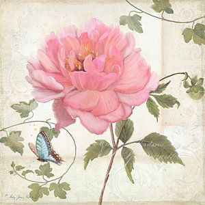 Painting - Les Magnifiques Fleurs Iv - Magnificent Garden Flowers Pink Peony N Blue Butterfly by Audrey Jeanne Roberts