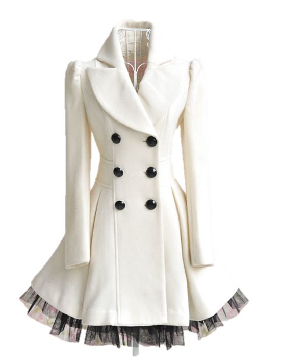 Love this off white wool pea coat. | Winter Fashion | Pinterest
