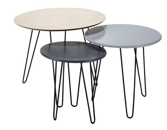 3 tavoli bassi estraibili D da 40 a 60 cm Graphik
