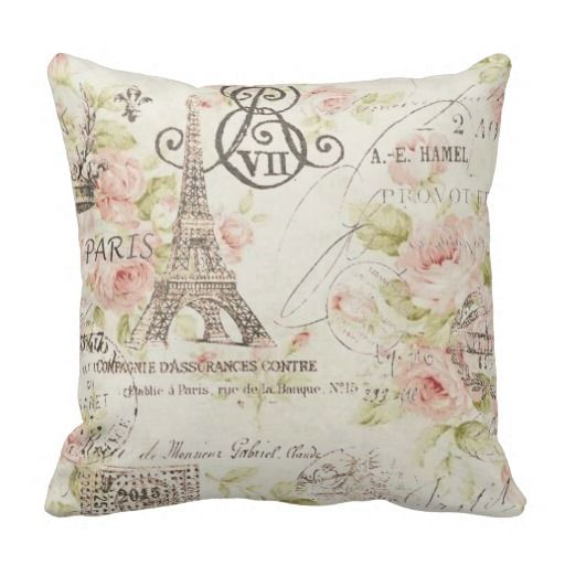 Vintage Floral Paris Eiffel tower decor pillow  | Visit the Zazzle Site for More: http://www.zazzle.com/?rf=238228028496470081 [Referral Link]