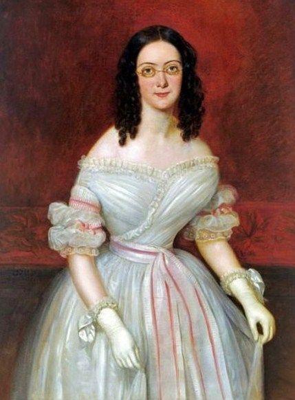 French-born Jean Joseph Vaudechamp 1790–1866 working in Louisiana - Mrs Antoine Julien Meffre-Rouzan - unusual portraits with eyeglasses: