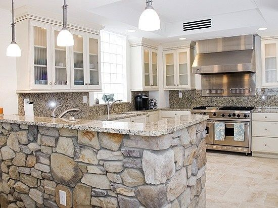 kitchens with stone accents | Gourmet Kitchen features stone accents |  kitchens | Pinterest | Kitchens