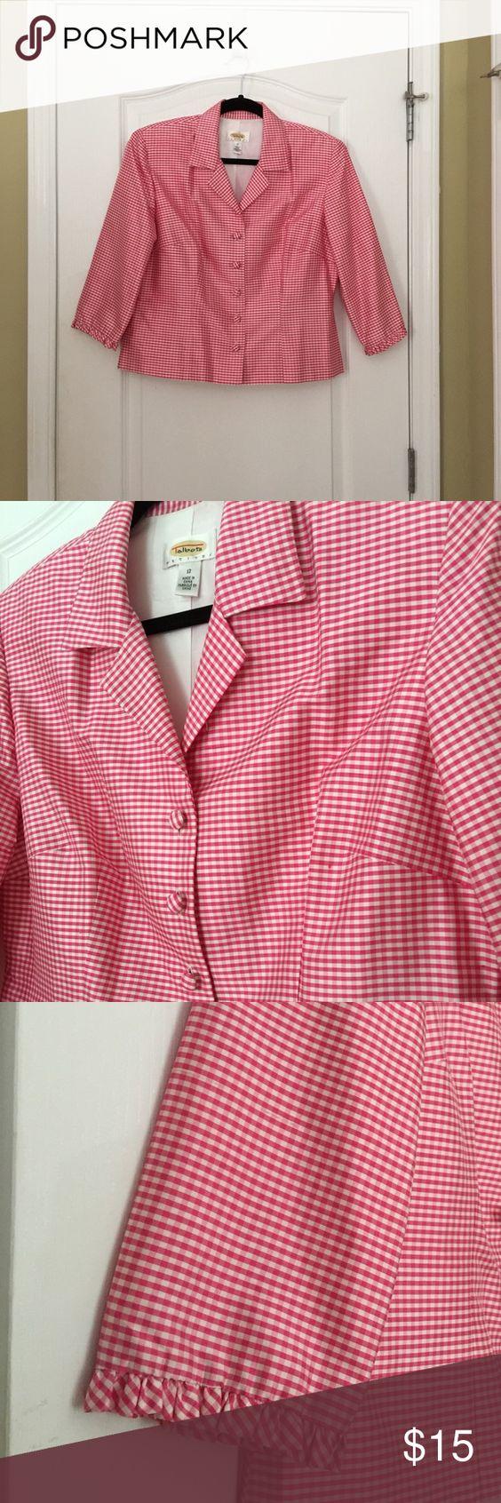 Talbots silk blazer/jacket Pretty in checkered pink/white 100% silk. Talbots Jackets & Coats Blazers