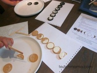 Phases of the moon; great links to videos and printables