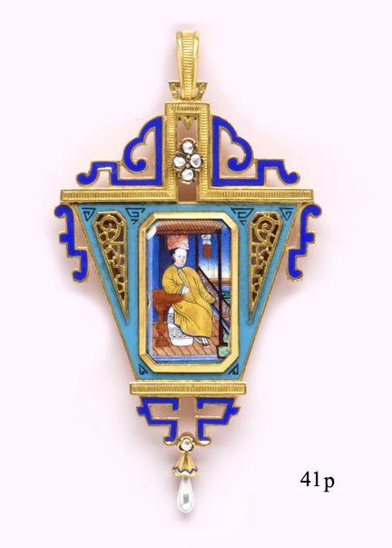 Art Nouveau / Rose-Cut Diamond, Enamel and Gold Chinoiserie Pendant Falize, Paris