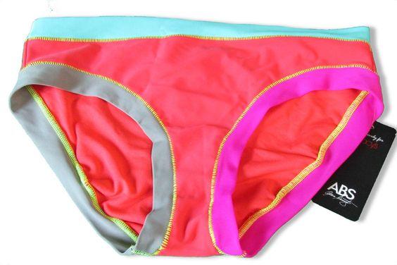 ABS Bikini Swim Bottom Midster Size 10  Color Block Multi NWT $44 #ABSbyAllenSchwartz #BikiniBottom