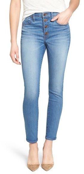 Great skinny jeans with high waist and button closure. Madewell 'High Riser - Button Through' Crop Skinny Skinny Jeans (Kearney Wash)