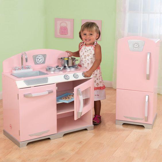 KidKraft 2 Piece Pink Retro Kitchen And Refrigerator
