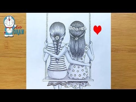 How To Draw Best Friends Sitting Together On A Swing Pencil Sketch Tutorial Youtube Drawings Of Friends Friends Sketch Best Friend Drawings