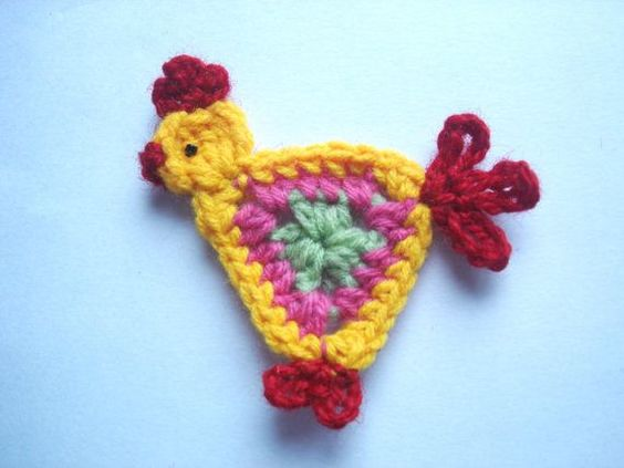 Crochet Animal Appliques | Crochet applique pattern crochet rooster di Thehobbyhopper su Etsy