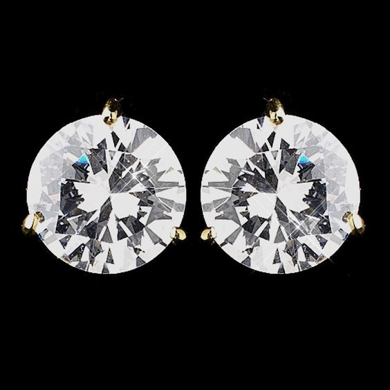 Gold Clear CZ Crystal Bridal Earrings 2432