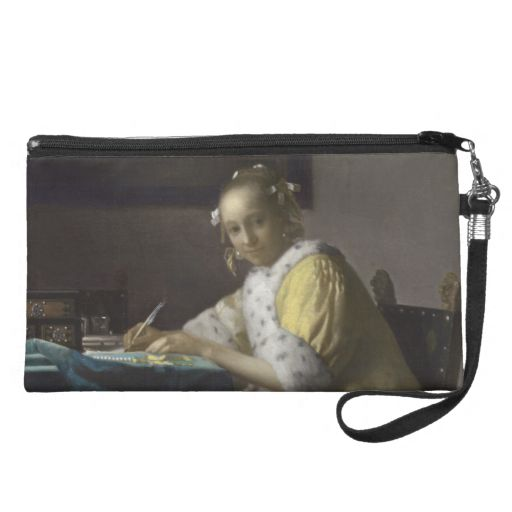 Lady Writing a Letter by Johannes Vermeer Wristlet Purses