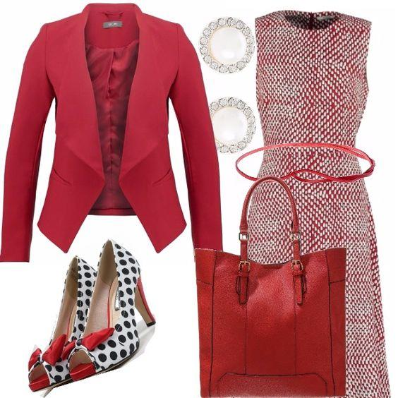 In rosso di buon auspicio: blazer morbido, indossato con un tubino longuette e valorizzato da delle bellissime scarpe a pois. Una piccola cintura dà risalto alla forma. Ho abbinato una borsa capiente e degli orecchini brillanti.