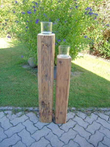 Alte holzbalken als kerzenst nder deko handarbeit garten for Holzbalken deko
