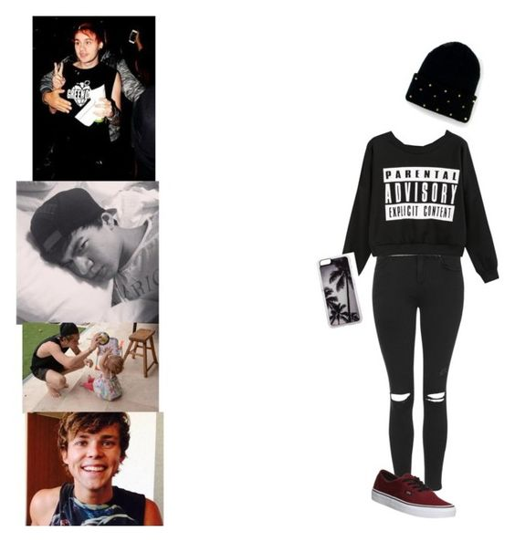 """""""Day with 5sos"""" by luv5sosluv ❤ liked on Polyvore featuring San Diego Hat Co., Topshop, Zero Gravity and Vans"""